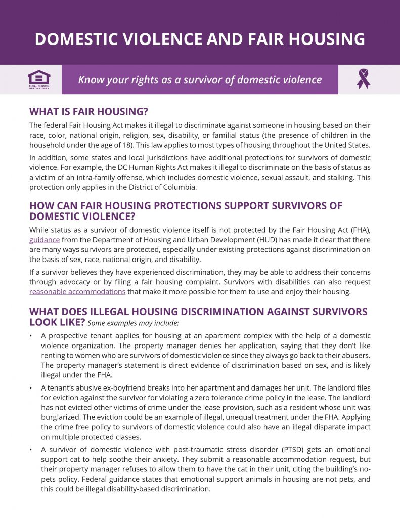A jpg format of the ERC's Domestic Violence and Fair Housing Fact Sheet, which can be found in accessible PDF form at https://equalrightscenter.org/wp-content/uploads/dv-one-pager-v51.pdf