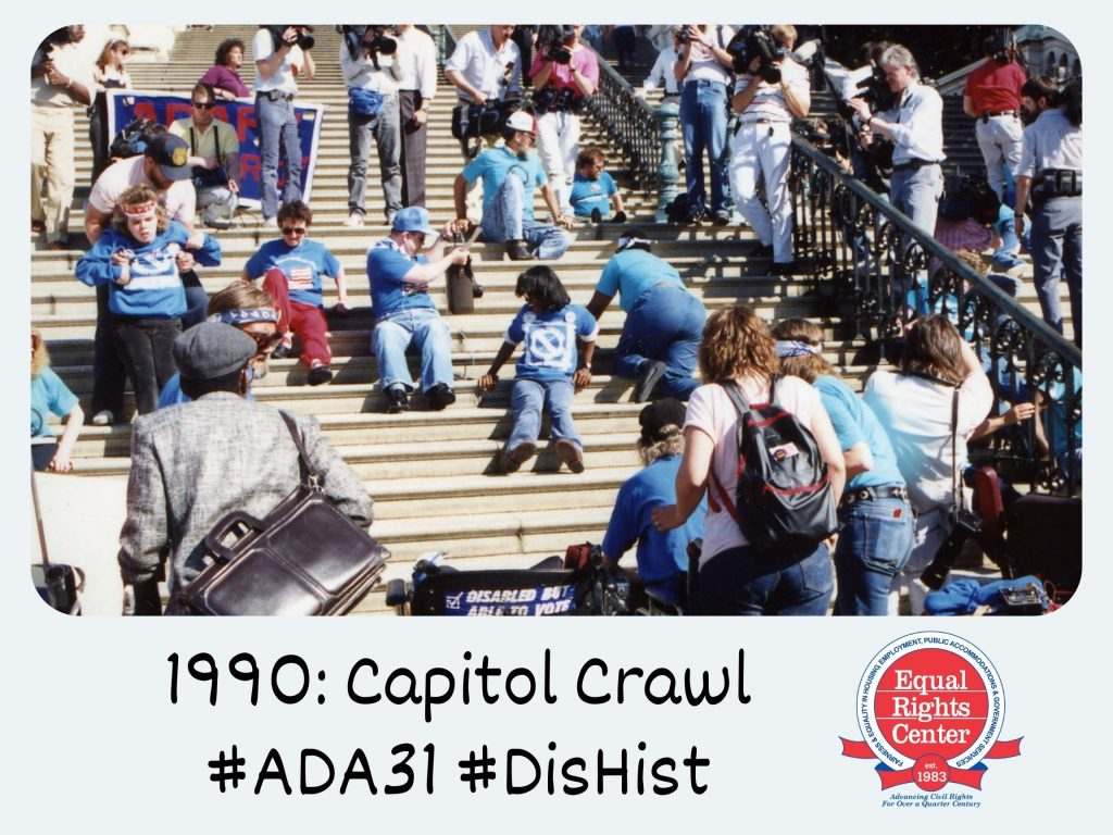 Polaroid-style photograph of disability rights activists dragging themselves up the Capitol steps. Captioned, 1990: Capitol Crawl #ADA31 #DisHist