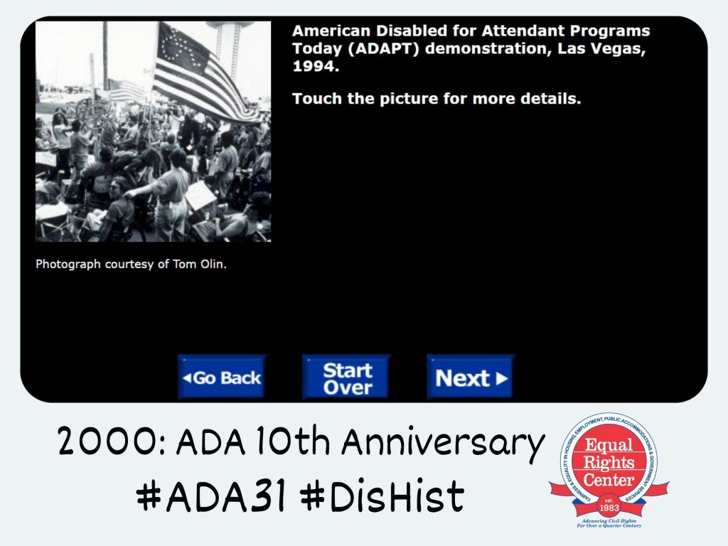 Screenshot of the National American History Museum's virtual exhibit on the ADA's tenth anniversary, fit within a Polaroid-style frame. Captioned, 2000: ADA 10th anniversary #ADA31 #DisHist