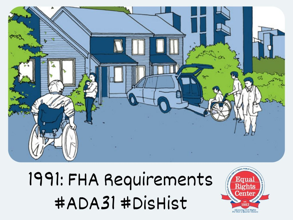 Illustration of six people outside of a condominium building. Two use wheelchairs and another uses a cane. The illustration is fitted within a Polaroid-style frame. Captioned, 1991: FHA requirements #ADA31 #DisHist