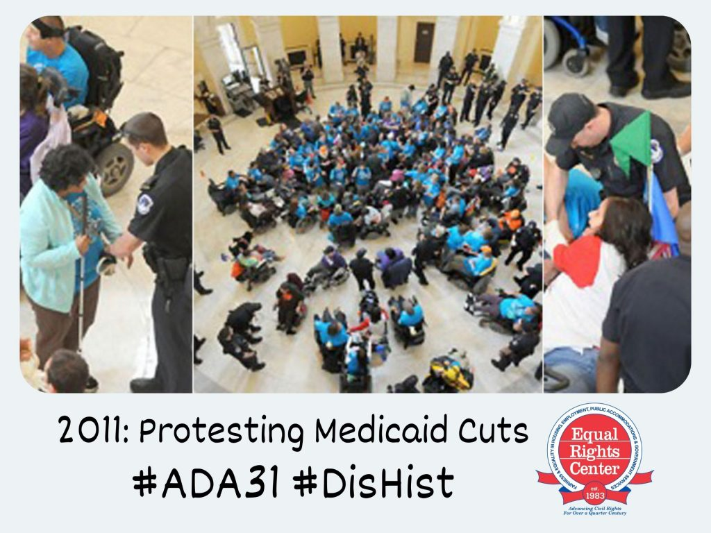 Polaroid-style photograph of protesters in the rotunda. Some continue to protest as others are arrested by Capitol Police officers. Captioned, 2011: Protesting Medicaid Cuts #ADA31 #DisHist