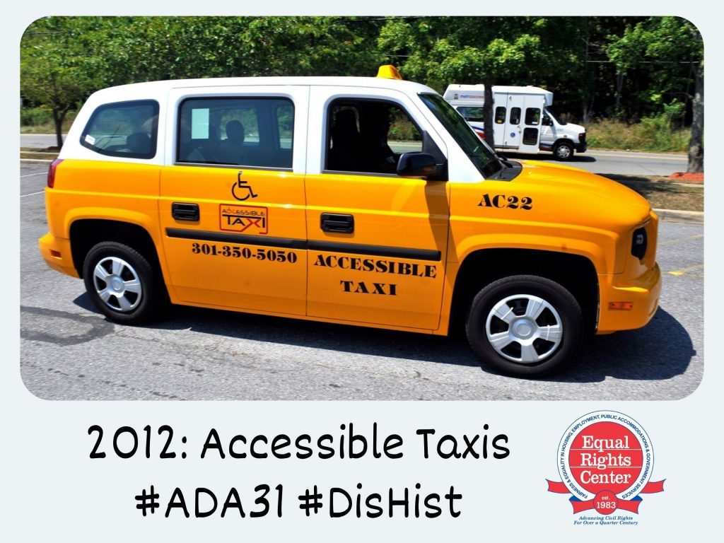 Polaroid-style photograph of an accessible taxi parked in a lot. Captioned, 2012: Accessible Taxis #ADA31 #DisHist
