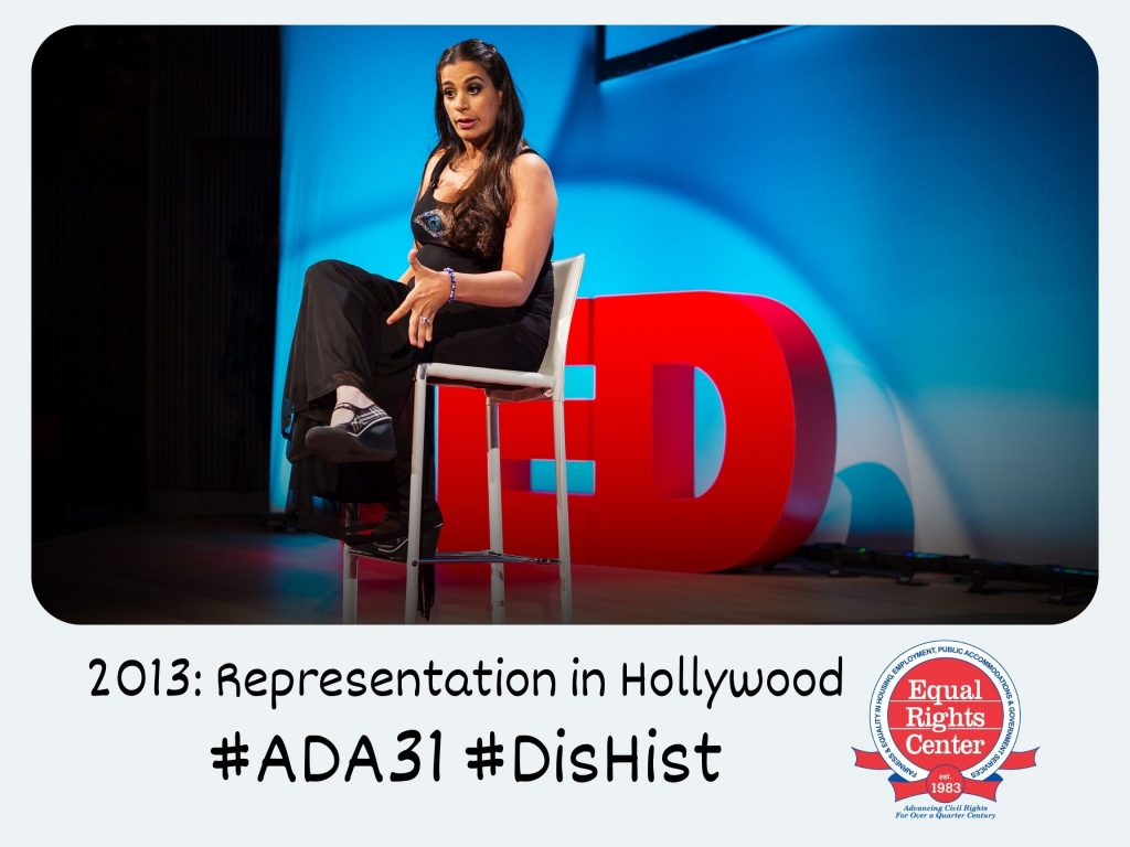 Polaroid-style photograph of Maysoon Zayid speaking on stage at the TED conference. Captioned, 2013: Representation in Hollywood #ADA31 #DisHist
