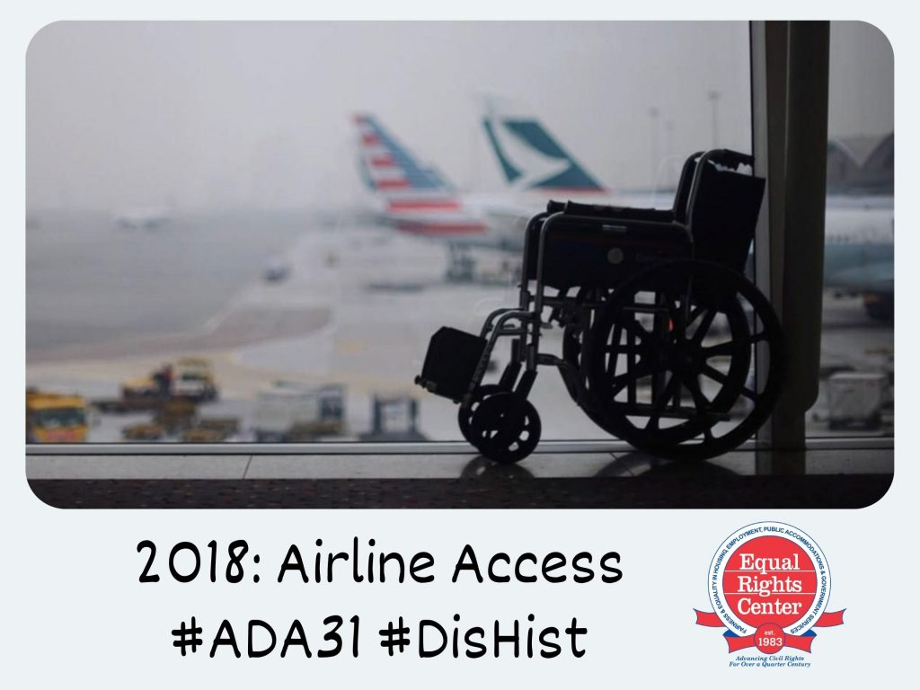 Polaroid-style photograph of an empty wheelchair in an airport. Two airplanes are partially visible through the window. Captioned, 2018: Airline Access #ADA31 #DisHist