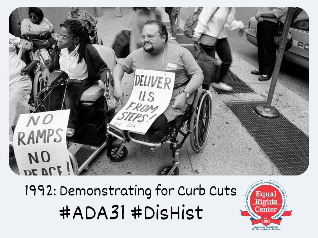 Polaroid-style photograph of disability rights activists in wheelchairs holding signs that say, Deliver us from steps! And, No ramps no peace! Captioned, 1992: Curb Cuts #ADA31 #DisHist