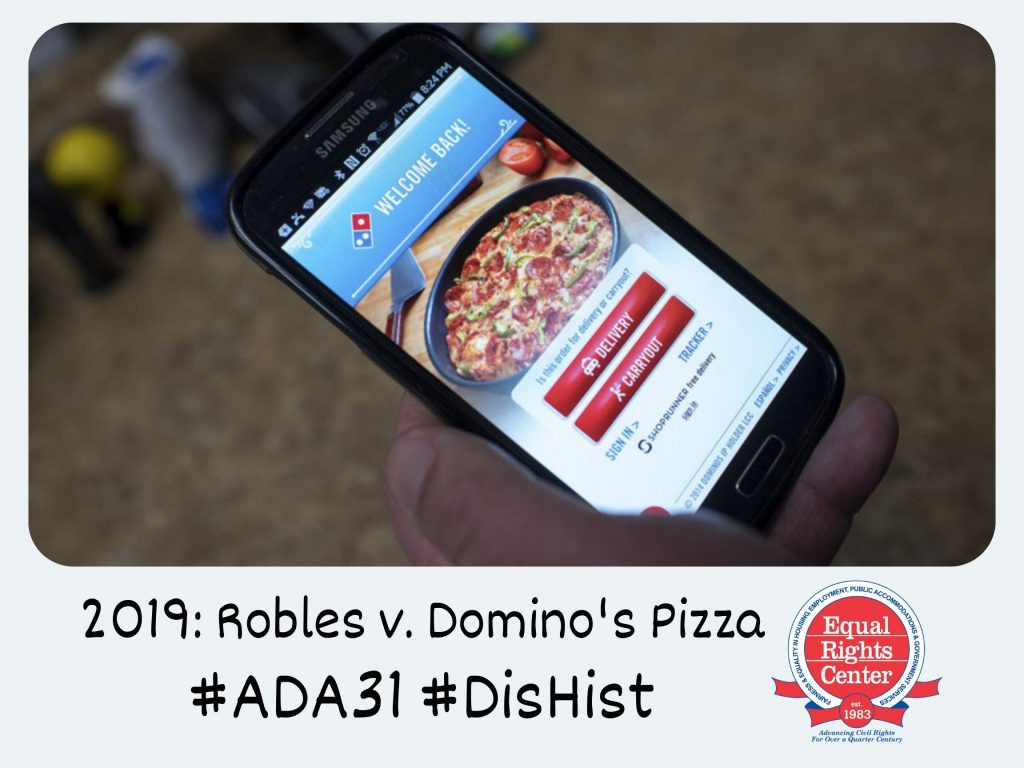 Polaroid-style photo of a smartphone in someone's hand displaying the Domino's Pizza app. Captioned, 2019: Robles v. Domino's Pizza #ADA31 #DisHist