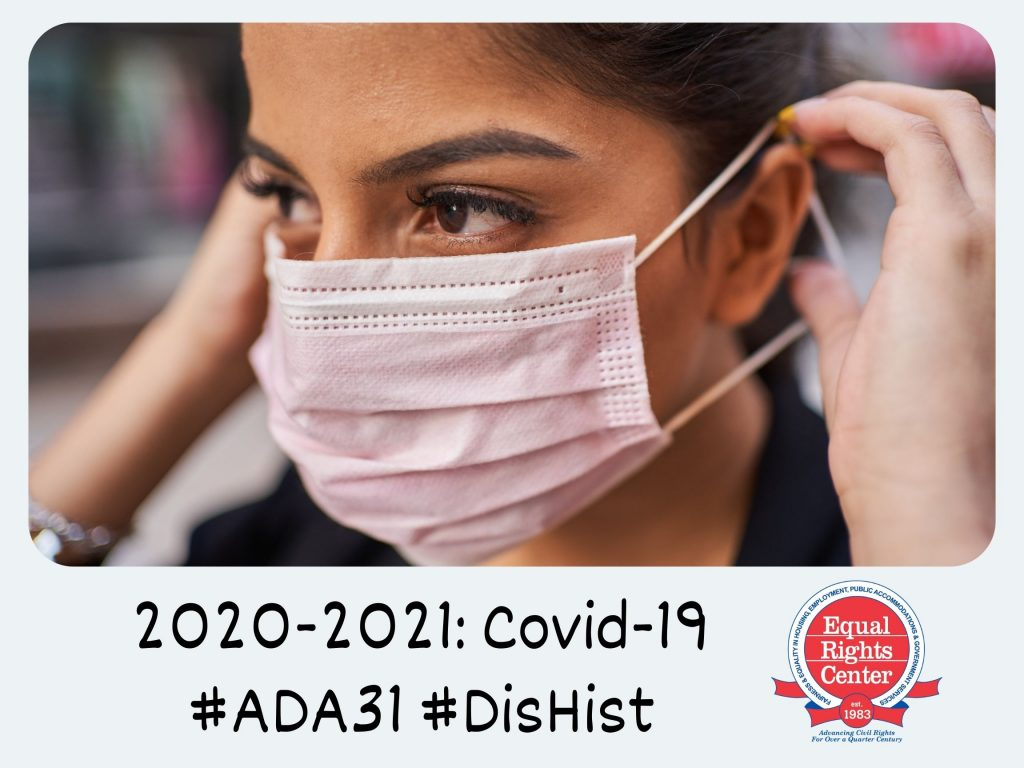 Polaroid-style photograph of a woman putting on a protective face mask. Captioned, 2020-2021: Covid-19 #ADA31 #DisHist