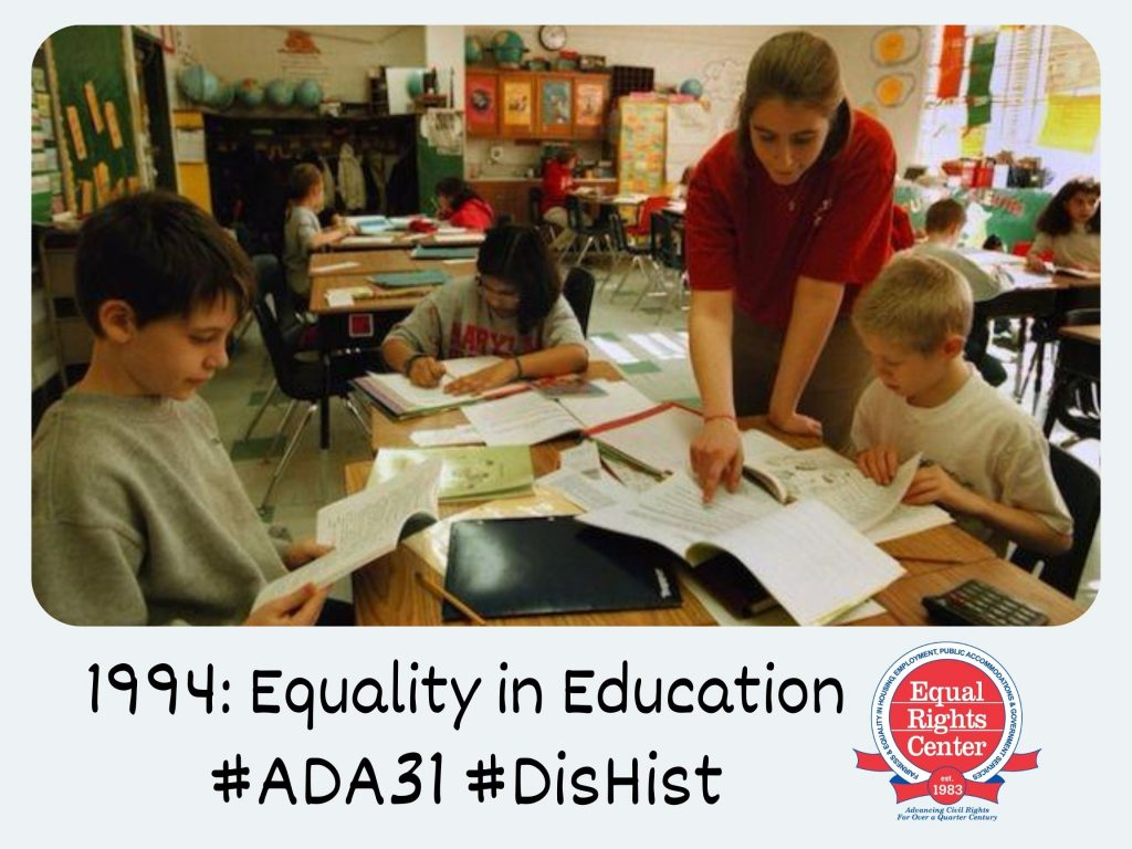 Polaroid-style photograph of a teacher and elementary age children in a classroom. Captioned, 1994: Rachel Holland #ADA31 #DisHist