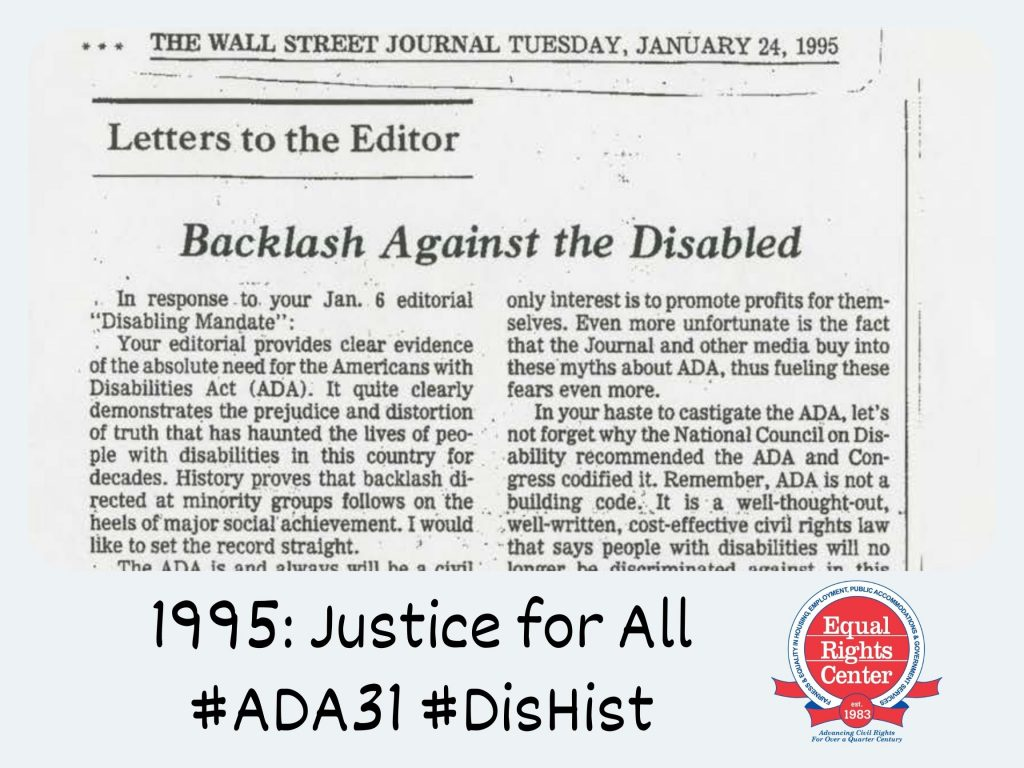Polaroid-style photograph of a newspaper article from the January 24, 1995 edition of the Wall Street Journal. The article is titled, Letters to the editor, Backlash against the Disabled. Captioned, 1995: Justice for All #ADA31 #DisHist