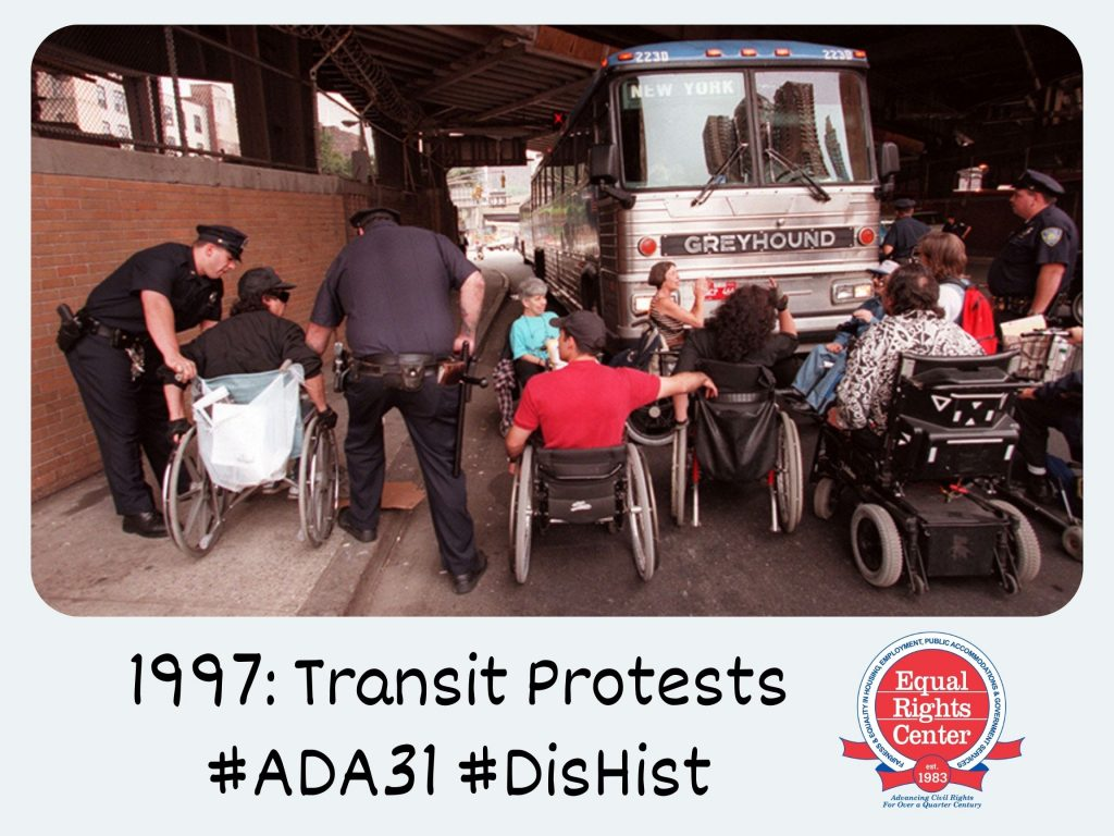 Polaroid-style photograph of disability rights activists in wheelchairs are apprehended by police officers as they block a Greyhound bus from moving. Captioned, 1997: Transit protests #ADA31 #DisHist