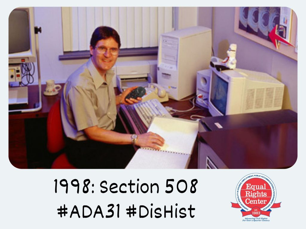 Polaroid-style photograph of Peter Torpey, research scientist for Xerox, in his office. Captioned, 1998: Section 508 #ADA31 #DisHist