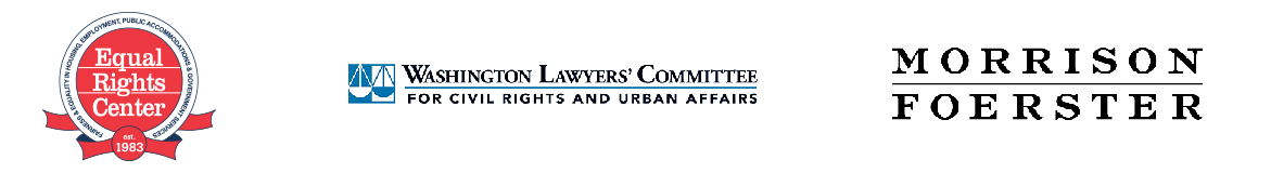Logos of ERC, Washington Lawyers' Committee, and Morrison Foerster