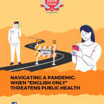 "Cover page of the ERC report, ""Navigating a Pandemic: When 'English Only' Threatens Public Health"""