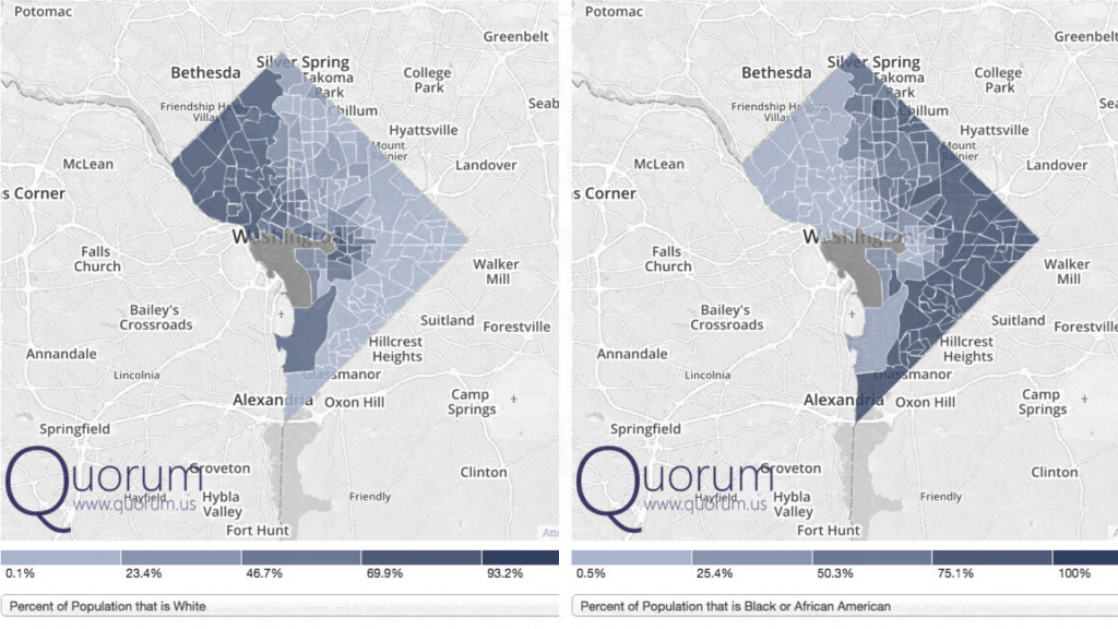 Demographic maps of DC showing high concentrations of white residents in the Northwest Quadrant, and high concentrations of Black residents in the Northeast and Southeast Quadrants.