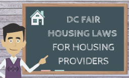 "An animated man with dark hair and a purple sweater points at a chalkboard which reads ""DC fair housing laws for housing providers"""