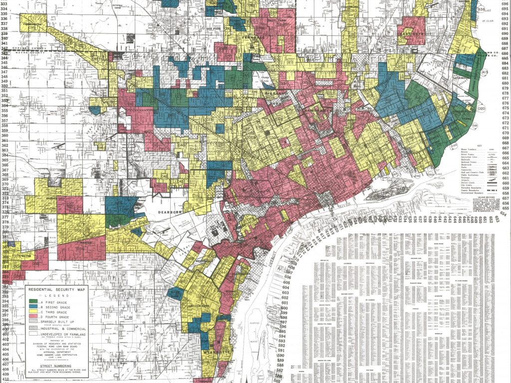 Map of Detroit done by the Home Owners' Loan Corporation, marking neighborhoods of color as