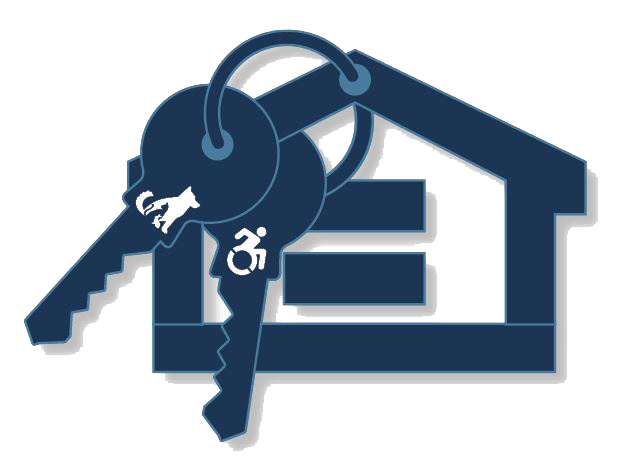 Fair housing logo with two keys with silhouettes of cat and accessibility symbol and equal sign inside house outline.