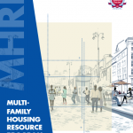 Cover for 2014-15 MHRP Report with ERC Logo, cartoon image of people of city street and text over blue background reading MHRP Multi-Family Housing Resource Program Year in Review (2014-2015)