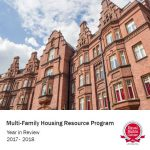 Cover of the MHRP report with image of brick building, ERC logo, and text stating Multi-Family Housing Resource Program year in Review 2017 - 2018