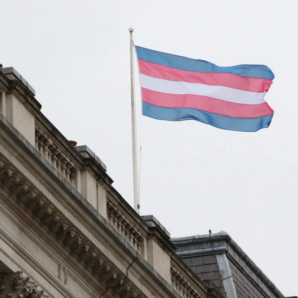 The transgender flag flies from the roof of a building.