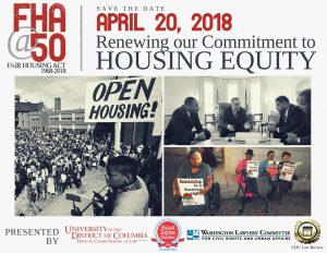 """[Left Image] A rally with a crowd of people and a black man at the podium holding a sign that says, """"Open Housing!"""" [Top Right Image] A meeting between Martin Luther King, Jr., Whitney Young, James Farmer, and President Lyndon B. Johnson. [Bottom Right Image] Four individuals holding signs. One sign reads, """"housing is a human right!"""""""