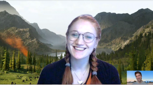 Screenshot of a video call between Jessie and Nick, with picturesque virtual backgrounds.