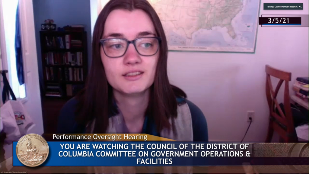 Screenshot of Susie McClannahan reading testimony at the DC Office of Human Rights virtual Performance Oversight Hearing.
