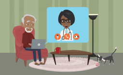 Animation depicting a man on his laptop video-conferencing with a health care professional.