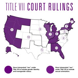 This map shows each U.S. Circuit Court's precedent regarding Title VII's applicability to sexual orientation and gender identity.